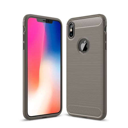 Apple iPhone XS Max TPU Case Carbon Fiber Optik Brushed Schutz Hülle Grau