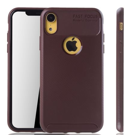 Apple iPhone XR Handyhülle Schutzcase Carbon Optik Bumper Braun