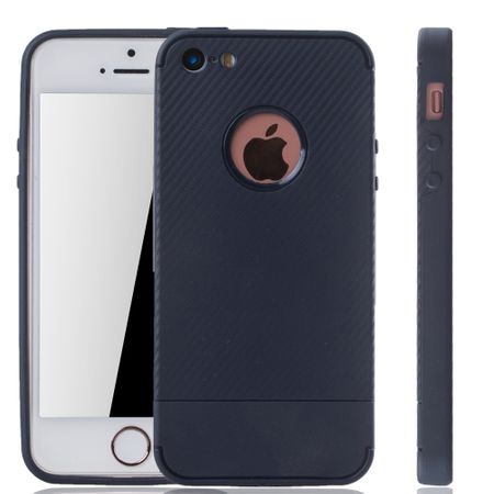 Apple iPhone 5 / 5s / SE Handyhülle Schutzcase Carbon Optik Bumper Rot