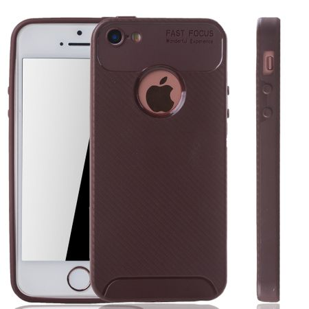 Apple iPhone 5 / 5s / SE Handyhülle Schutzcase Carbon Optik Bumper Braun