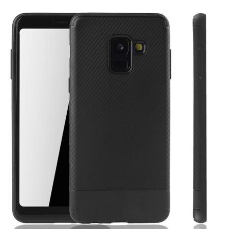 Samsung Galaxy A8 Plus 2018 Handyhülle Schutzcase Carbon Optik Bumper Schwarz