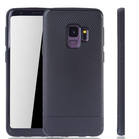 Samsung Galaxy S9 Handyhülle Schutzcase Carbon Optik Bumper Schwarz