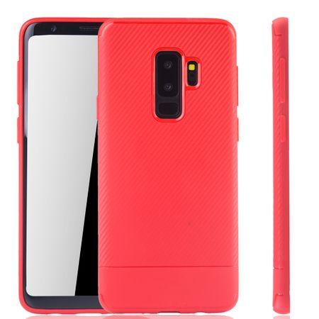 Samsung Galaxy S9 Plus Handyhülle Schutzcase Carbon Optik Bumper Rot