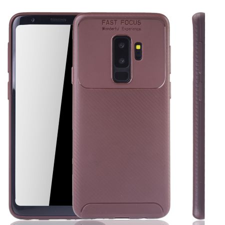 Samsung Galaxy S9 Plus Handyhülle Schutzcase Carbon Optik Bumper Braun