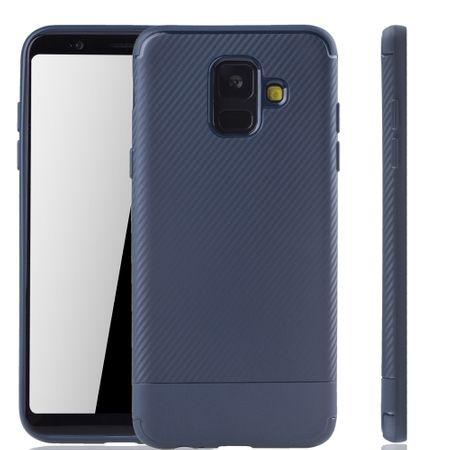 Samsung Galaxy A6 2018 Handyhülle Schutzcase Carbon Optik Bumper Blau