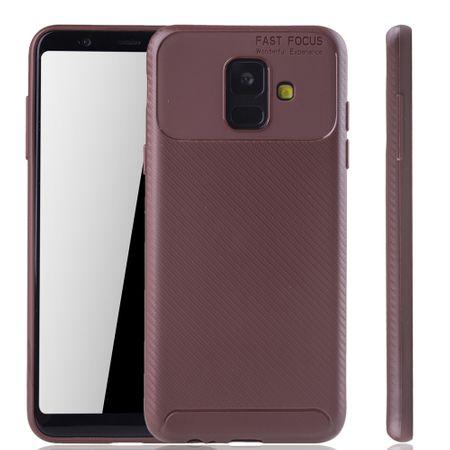 Samsung Galaxy A6 2018 Handyhülle Schutzcase Carbon Optik Bumper Braun