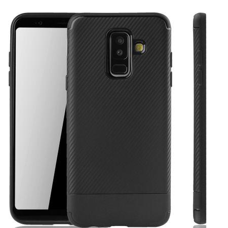 Samsung Galaxy A6 Plus 2018 Handyhülle Schutzcase Carbon Optik Bumper Schwarz