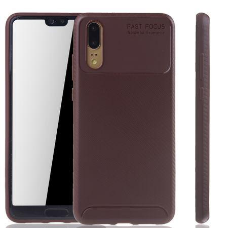 Huawei P20 Handyhülle Schutzcase Carbon Optik Bumper Braun
