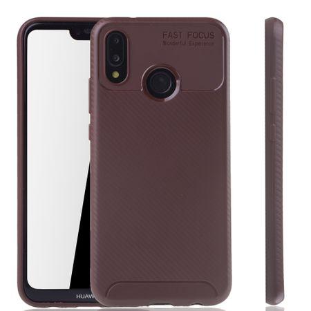 Huawei P20 Lite Handyhülle Schutzcase Carbon Optik Bumper Braun