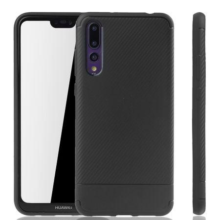 Huawei P20 Pro Handyhülle Schutzcase Carbon Optik Bumper Schwarz