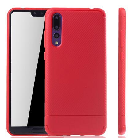 Huawei P20 Pro Handyhülle Schutzcase Carbon Optik Bumper Rot