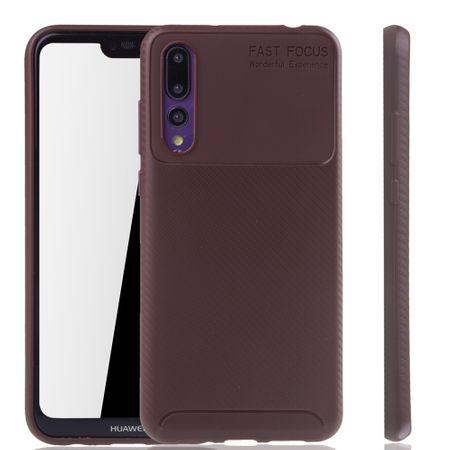 Huawei P20 Pro Handyhülle Schutzcase Carbon Optik Bumper Braun