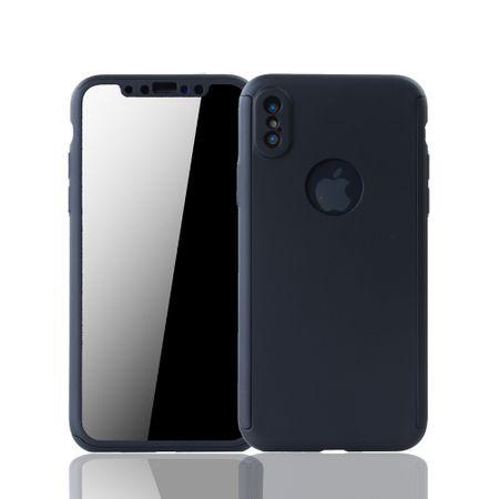 Apple iPhone XS Handy-Hülle Schutz-Case Full-Cover Panzer Schutz Glas Schwarz
