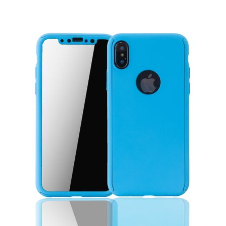 Apple iPhone XS Handy-Hülle Schutz-Case Full-Cover Panzer Schutz Glas Hellblau