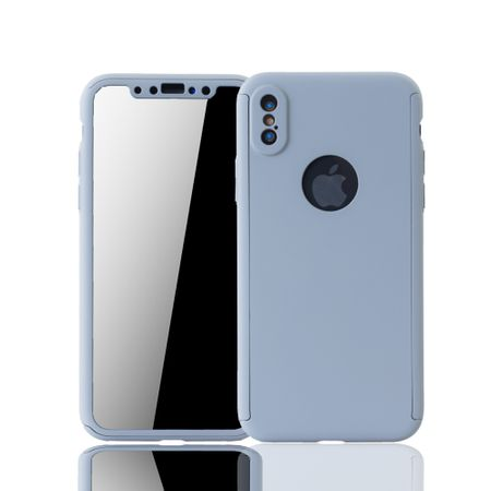 Apple iPhone XS Handy-Hülle Schutz-Case Full-Cover Panzer Schutz Glas Grau