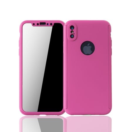 Apple iPhone XS Handy-Hülle Schutz-Case Full-Cover Panzer Schutz Glas Pink