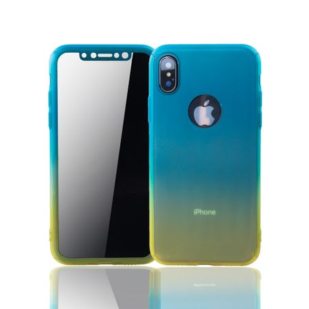 Apple iPhone XS Handy-Hülle Schutz-Case Full-Cover Panzer Schutz Glas Blau / Gelb