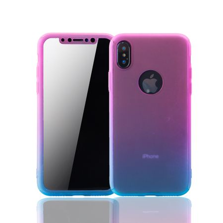 Apple iPhone XS Handy-Hülle Schutz-Case Full-Cover Panzer Schutz Glas Pink / Blau