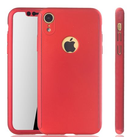 Apple iPhone XR Handy-Hülle Schutz-Case Full-Cover Panzer Schutz Glas Rot