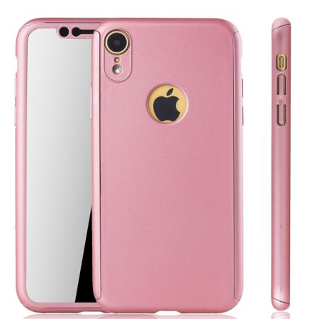 Apple iPhone XR Handy-Hülle Schutz-Case Full-Cover Panzer Schutz Glas Rose