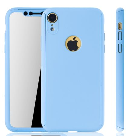 Apple iPhone XR Handy-Hülle Schutz-Case Full-Cover Panzer Schutz Glas Hellblau
