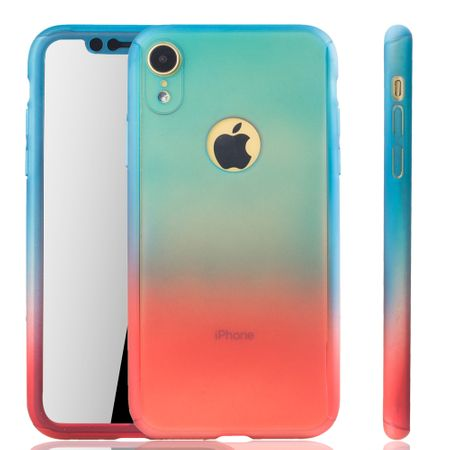 Apple iPhone XR Handy-Hülle Schutz-Case Full-Cover Panzer Schutz Glas Blau / Rot