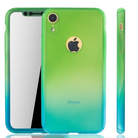 Apple iPhone XR Handy-Hülle Schutz-Case Full-Cover Panzer Schutz Glas Grün / Blau