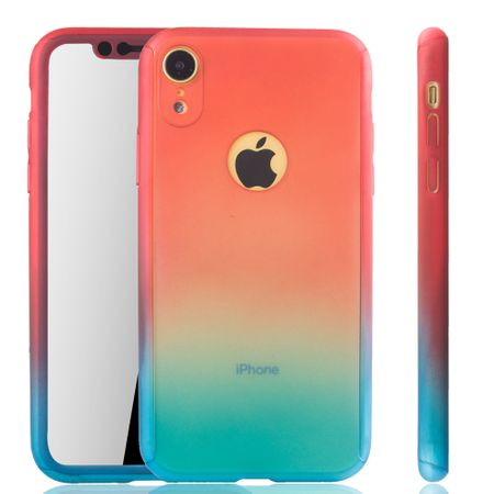 Apple iPhone XR Handy-Hülle Schutz-Case Full-Cover Panzer Schutz Glas Rot / Blau