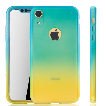 Apple iPhone XR Handy-Hülle Schutz-Case Full-Cover Panzer Schutz Glas Blau / Gelb