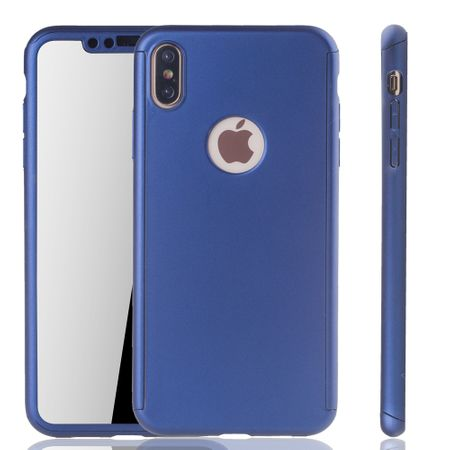 Apple iPhone XS Max Handy-Hülle Schutz-Case Full-Cover Panzer Schutz Glas Blau