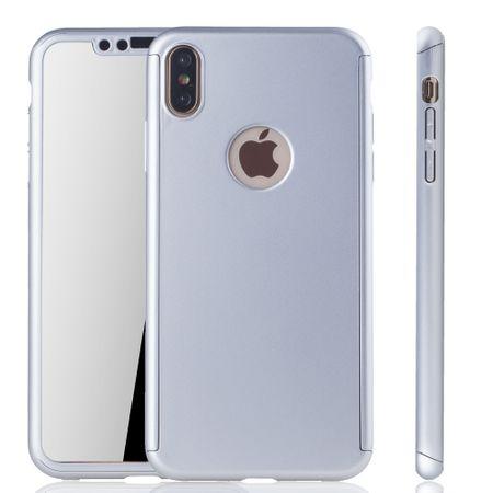 Apple iPhone XS Max Handy-Hülle Schutz-Case Full-Cover Panzer Schutz Glas Silber