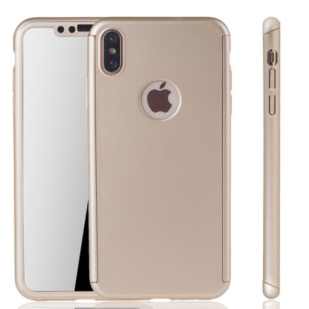 Apple iPhone XS Max Handy-Hülle Schutz-Case Full-Cover Panzer Schutz Glas Gold
