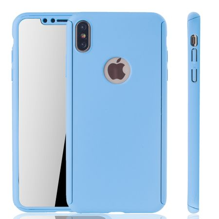 Apple iPhone XS Max Handy-Hülle Schutz-Case Full-Cover Panzer Schutz Glas Hellblau