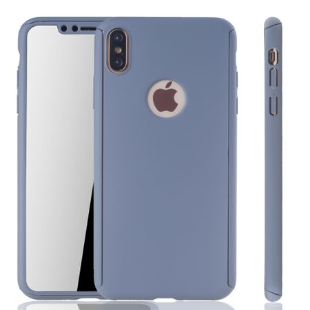 Apple iPhone XS Max Handy-Hülle Schutz-Case Full-Cover Panzer Schutz Glas Grau