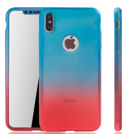 Apple iPhone XS Max Handy-Hülle Schutz-Case Full-Cover Panzer Schutz Glas Blau / Rot