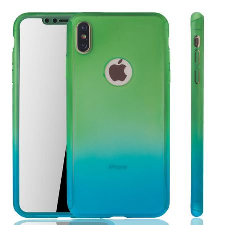 Apple iPhone XS Max Handy-Hülle Schutz-Case Full-Cover Panzer Schutz Glas Grün / Blau