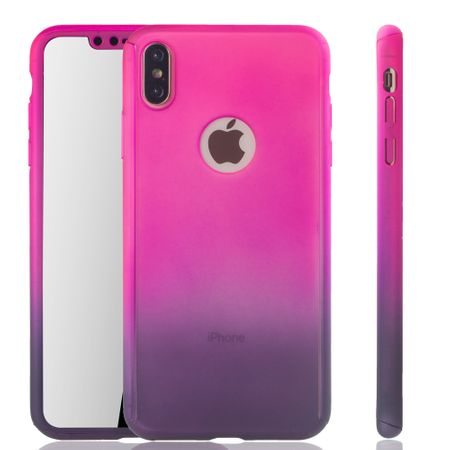 Apple iPhone XS Max Handy-Hülle Schutz-Case Cover Panzer Schutz Glas Pink / Violett