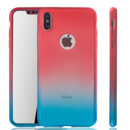 Apple iPhone XS Max Handy-Hülle Schutz-Case Full-Cover Panzer Schutz Glas Rot / Blau