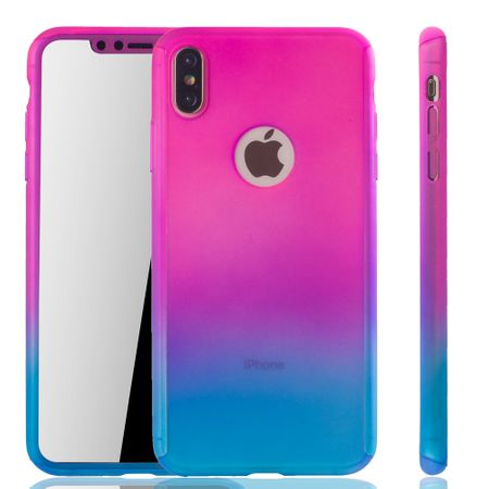 Apple iPhone XS Max Handy-Hülle Schutz-Case Full-Cover Panzer Schutz Glas Pink / Blau