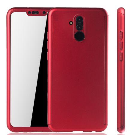 Huawei Mate 20 Lite Handy-Hülle Schutz-Case Full-Cover Panzer Schutz Glas Rot