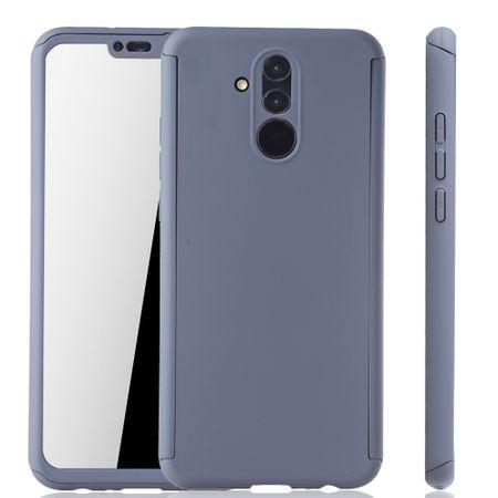 Huawei Mate 20 Lite Handy-Hülle Schutz-Case Full-Cover Panzer Schutz Glas Grau