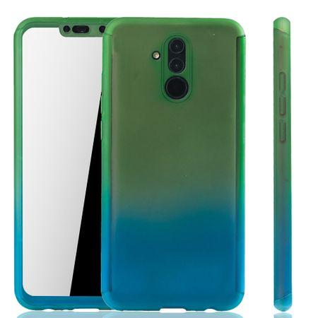 Huawei Mate 20 Lite Handy-Hülle Schutz-Case Full-Cover Panzer Schutz Glas Grün / Blau