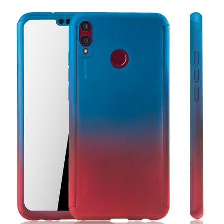 Huawei Honor 8X Handy-Hülle Schutz-Case Full-Cover Panzer Schutz Glas Blau / Rot