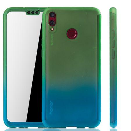 Huawei Honor 8X Handy-Hülle Schutz-Case Full-Cover Panzer Schutz Glas Grün / Blau