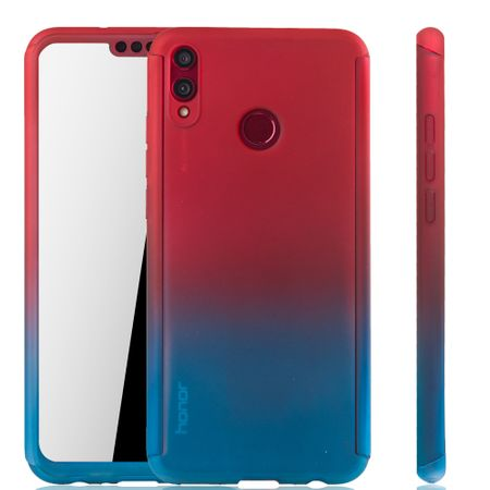 Huawei Honor 8X Handy-Hülle Schutz-Case Full-Cover Panzer Schutz Glas Rot / Blau