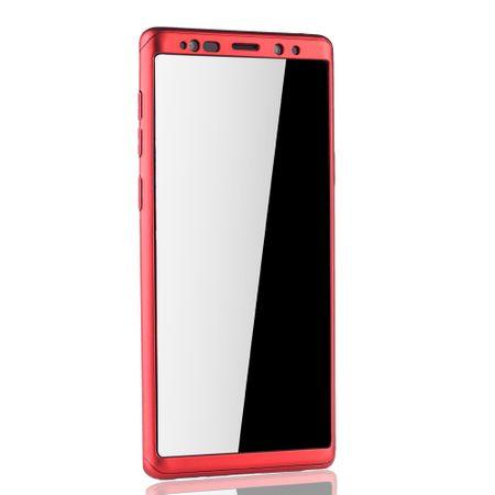 Samsung Galaxy Note 9 Handyhülle Schutzcase Full Cover 360 Displayschutz Folie Rot – Bild 3