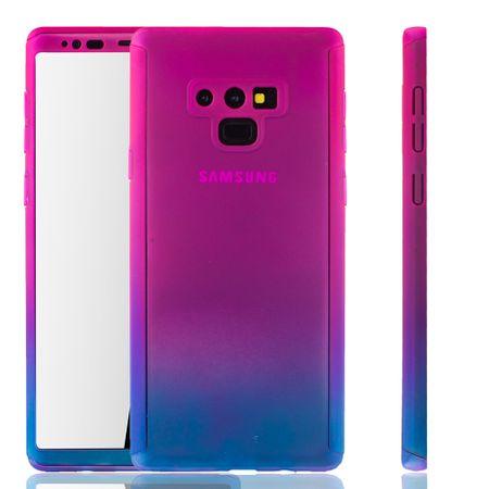 Samsung Galaxy Note 9 Handyhülle Schutzcase Full Cover 360 Displayschutz Folie Pink / Blau