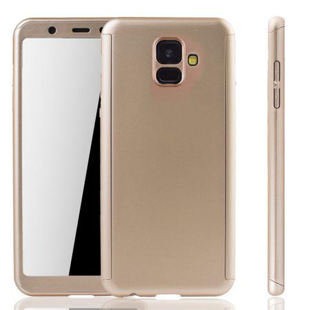 Samsung Galaxy A6 2018 Handy-Hülle Schutz-Case Full-Cover Panzer Schutz Glas Gold