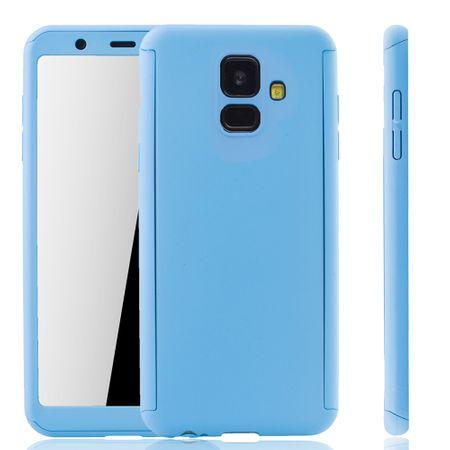 Samsung Galaxy A6 2018 Handy-Hülle Schutz-Case Full-Cover Panzer Schutz Glas Hellblau