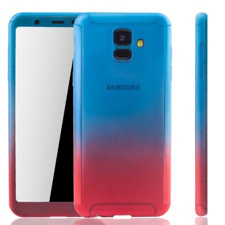 Samsung Galaxy A6 2018 Handy-Hülle Schutz-Case Full-Cover Panzer Schutz Glas Blau / Rot
